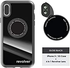 Ztylus Gloss Black Revolver M Series Camera Kit: 6 in 1 Lens with Case for iPhone X - 2X Telephoto Lens, Macro, Super Macro Lens, Wide Angle Lens