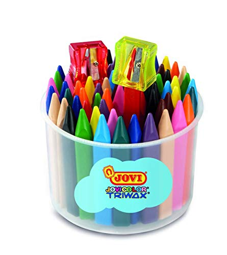 Jovi Triwax Triangular Crayons; Classroom Pack of 72 (6 Each of 12 Colors) Plus 2 sharpeners