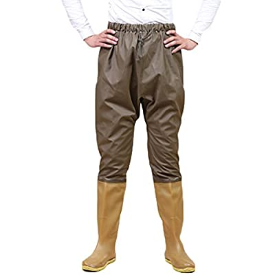 YuanDian Mens Womens Outdoor Knitted Fabric Waist High Fishing Waders With Boots Fly Fishing Bootfoot Hip Waders Non-Slip Soles Farming Hunting Wading Pants