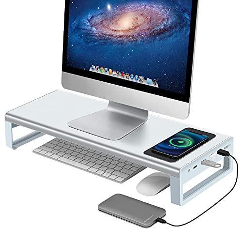 Vaydeer USB 3.0 Monitorständer mit kabelloser Aufladung Aluminium Monitor Stand Riser Unterstützt Datenübertragung, Metall Monitor Ständer Unterstützt bis zu 32 Zoll für Computer, Laptop - Silber