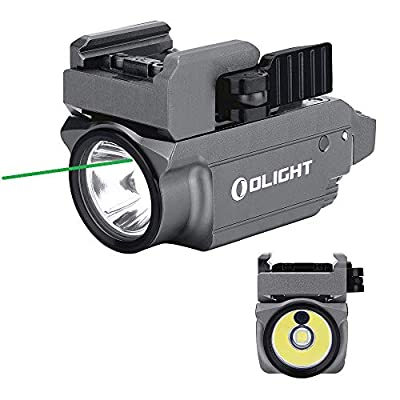 OLIGHT Baldr Mini 600 Lumen Pistol Light and Green Laser Combo (Class IIIA <5mw Safe Laser Output, PL-Mini 2 Combo) Tactical LED Flashlight Magnetic Rechargeable with Built-in Battery (Gunmetal Grey)