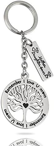 Thajaling Sleutelhanger met levensboom hartvormige hanger cadeau voor Moederdag sleutelhanger herinnering dat ik van jou mama hart hanger 304 staal