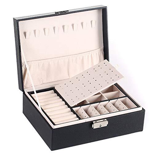 Joyero de viaje con 2 capas de piel sintética para guardar joyas, organizador portátil con cerradura y bandeja extraíble, regalo para niñas, para pendientes, collares, anillos, pulseras (GY)