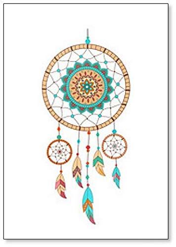 Atrapasueños con piedras preciosas y plumas. Imán para nevera con ilustración étnica