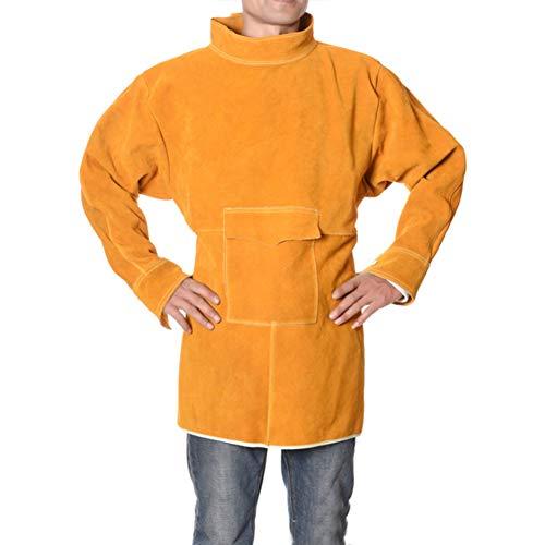 XXLHH Schort vlamvertragende lasschort, rundleer, bescherming, zweetschort, zweetjas, vuurbestendig, veilig, multifunctionele werkplaats, schort voor lange kleding
