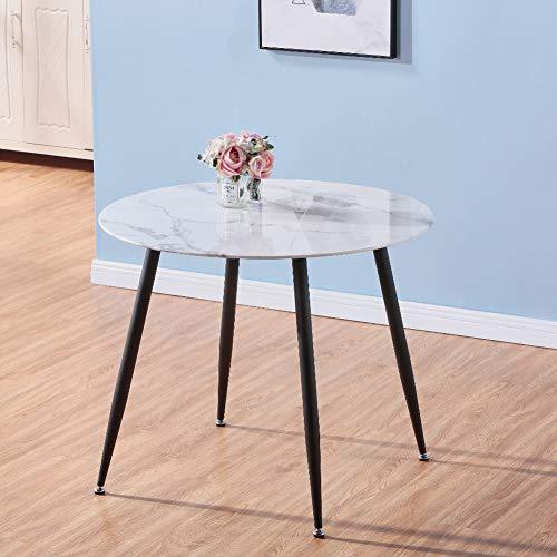 GOLDFAN Esstisch Glas Esszimmertisch Moderner Küchentisch Rund Glastisch Marmor Tisch für Wohnzimmer Büro Küche Schwarz 80cm