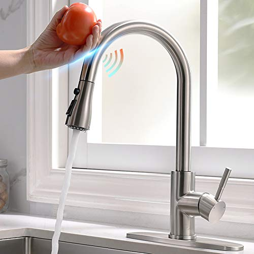 Touch Kitchen Faucets with Pull Down Sprayer, Single Handle Kitchen Sink Faucet, 3 Modes High Arc Pull Out Kitchen Faucet, Smart Kitchen Faucet with Deck Plate, Stainless Steel, Brushed Nickel