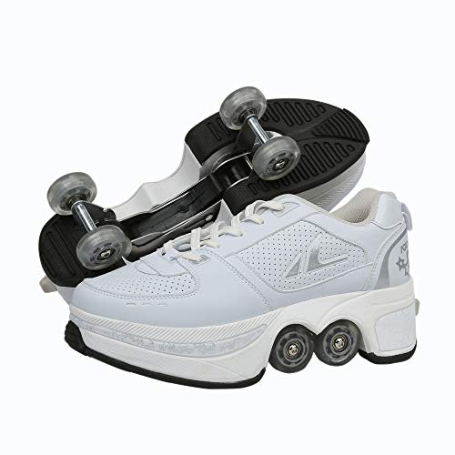 Multifunktionale Deformation Schuhe 2-in-1 Quad Skate Rollschuhe Skating Outdoor Sportschuhe Für Erwachsene Kinder Rollschuhe Weiß Sport Rollschuhe,White-EUR34