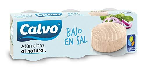Calvo - Atún Claro al natural, bajo en sal, Pack, 3 x 80 g