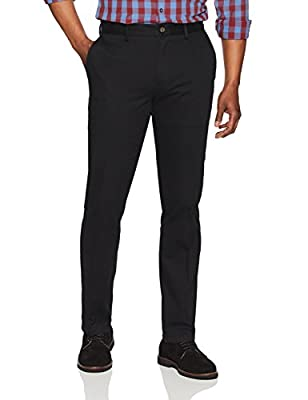 Amazon Essentials Men's Slim-Fit Wrinkle-Resistant Flat-Front Chino Pant, Black, 31W x 29L
