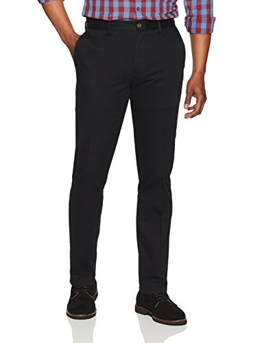 Amazon Essentials Men's Slim-Fit Wrinkle-Resistant Flat-Front Chino Pant, Black, 32W x 34L