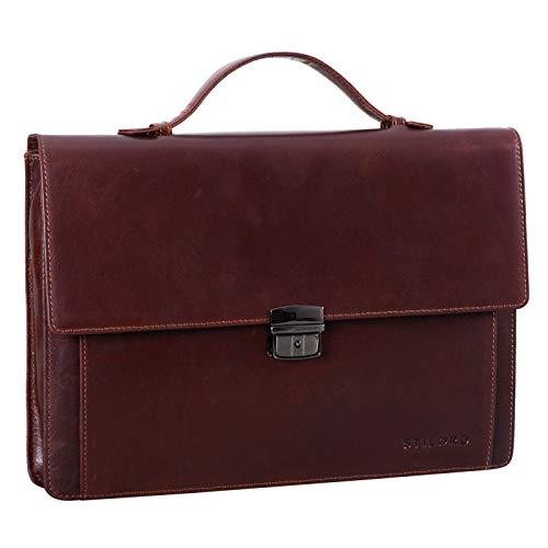 STILORD 'Ernesto' Portfolio Folder A4 Leather Slim Briefcase Vintage...