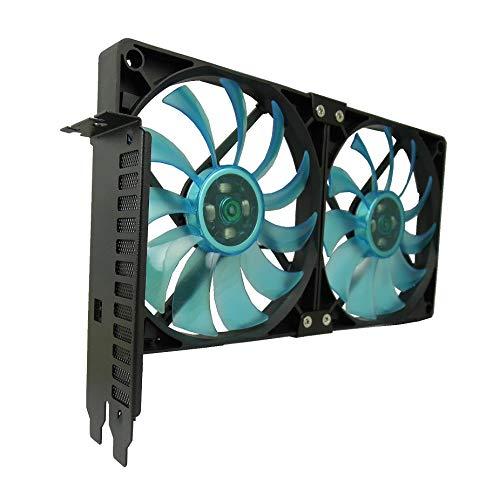 GELID Solutions Soporte para ventilador de ranura PCI - 2 x Slim Blue 120mm UV Blue Fan - Alto flujo de aire con funcionamiento silencioso - Tamaños 254 x 43.7 152 (mm)