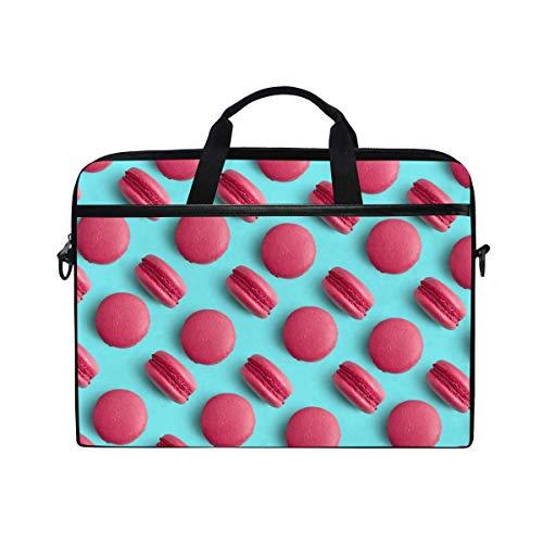 Laptop Sleeve Case,Laptop Bag,Pink Macaron Pattern Water Briefcase Messenger Notebook Computer Bag with Shoulder Strap Handle,29×40 CM/15.6 Inch