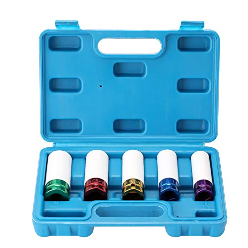 Festnight Luftreifenschutz Hülsenfarbe Langarmwerkzeug Autowerkstatt Kit Farbe 5-teiliges Set Radmutter Sechskantbuchse