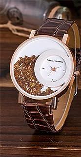ساعة نسائية من الجلد ,بكريستال عائم  - اللون بني