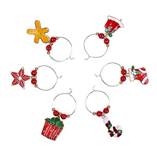 Macabolo - Confezione da 6 segnabicchieri natalizi decorativi per bicchieri da vino in metallo, per feste, capodanno, decorazione da tavola 3 Assorted Color