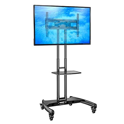 Ergosolid Supporto TV da Pavimento con Ruote Carrello Staffa Porta Mobile Stand Orientabile per Schermi 32  a 65 , fino a 45,5 kg, nero