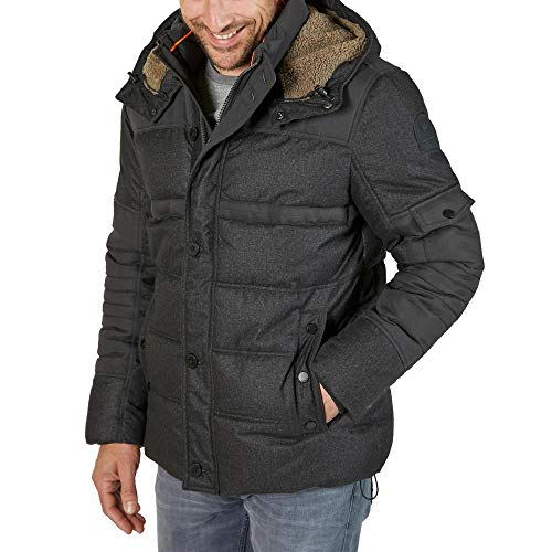 LERROS Men 2997035 288 Herren Winterjacke Winddicht mit weitenregulierbarer Kapuze, Groesse 56/58, grau/meliert