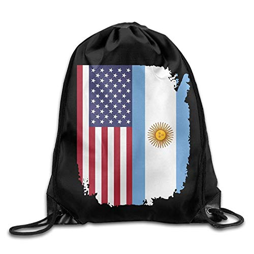 Etryrt Mochilas/Bolsas de Gimnasia,Bolsas de Cuerdas, American Argentina Flag Drawstring Backpack Beam Mouth Yoga Sackpack Rucksack Shoulder Bags For Men/Women