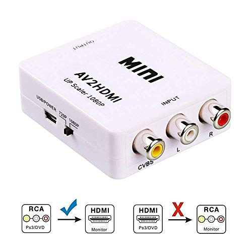 RCA to HDMI, AV to HDMI, Vilcome 1080P Mini RCA Composite CVBS AV to HDMI Video Audio Converter Adapter Supporting PAL/NTSC with USB Charge Cable for PC Laptop Xbox PS4 PS3 TV STB VHS VCR DVD(White)