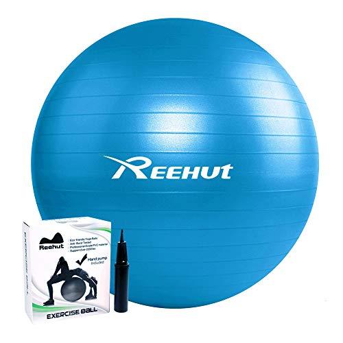 REEHUT Ballon Fitness Yoga Balle d'Exercice Antidérapant Balle Gymnastique avec Pompe - pour Entraînement Grossesse Equilibre Chair - Bleu 65cm
