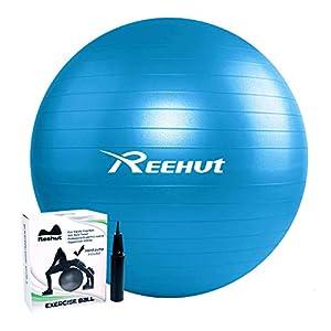 REEHUT Pelota de Ejercicio Anti-Burst para Yoga, Equilibrio, Fitness, Entrenamiento, incluidos Bomba y Manual de Usuario - Azul 75cm