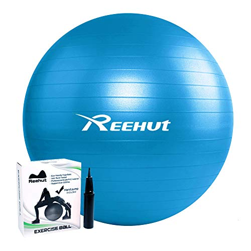 REEHUT Anti-Burst Gymnastikball + Pumpe mit Belastbarkeit bis zu 500kg Core-Training Fitness Yoga Pilates Ball - Blau 65CM