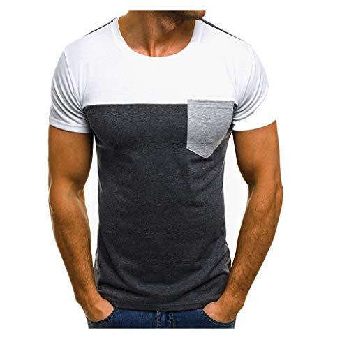 SANFASHION Herren Modern Muscle T-Shirt Slim Fit Patchwork Top Rundhals Kurzarm Basic...