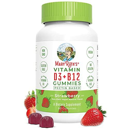 Vegan Vitamin D3+B12 Gummy (Plant-Based Gummies) by MaryRuth's - 2 Month Supply - Made w/Organic...