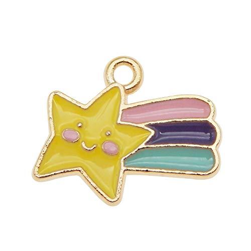 Emaille Regenbogenstern für Armbänder, Ohrringe, Halsketten, Anhänger, 18 x 14 mm, 32 Stück