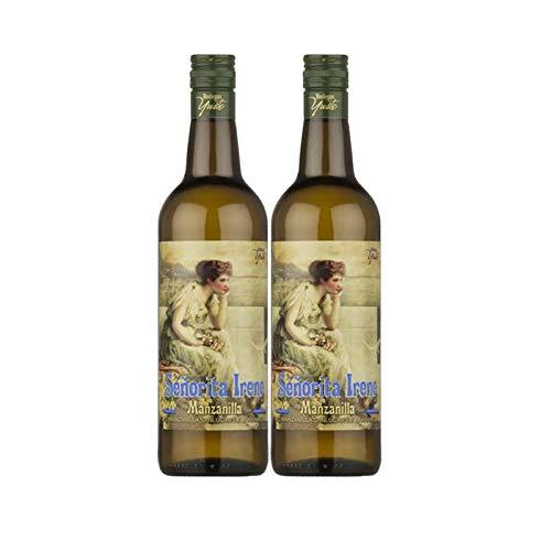 Vino Manzanilla Señorita Irene de 75 cl - D.O. Manzanilla-Sanlucar de Barrameda - Bodegas Yuste (Pack de 2 botellas)