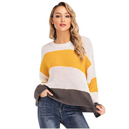 Damen Freizeit Langarmshirts,Lange Ärmel,Rundhals,Streifenmuster,Gestreifter Kontrast Farbe Top Beiläufiges Loses Sweatshirt S-XL