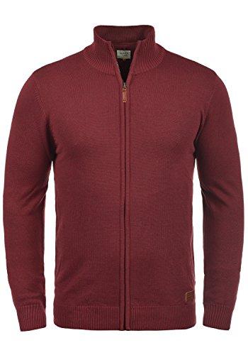 Blend Norman Herren Strickjacke Cardigan Feinstrick Mit Stehkragen und Reißverschluss, Größe:M, Farbe:Andorra Red (73811)