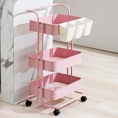 Artechworks 3-Tier Rolling Utility Cart with Handle and 3pcs Buckets, Makeup Cart with Roller Wheels Mobile Storage Organizer for Kitchen, Bathroom, Office, Coffee Bar, Pink