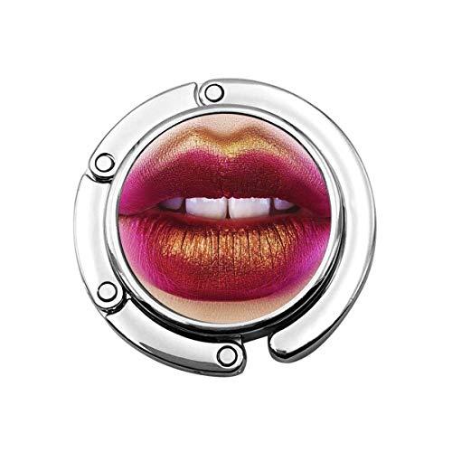 Monedero Percha Monedero Gancho Colorido Labios Sexy Belleza Rojo Rosa Oro Maquillaje Detalle Hermoso Maquillaje Primer Plano Sensual Boca Abierta Blanco