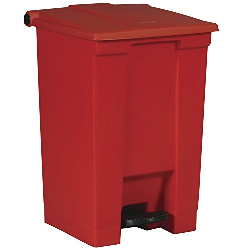 Rubbermaid Commercial Products Step-On 6144 - Cubo de basura rectangular, plástico, capacidad de 45.4 l, rojo