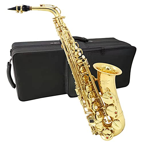 Alto Saxophone Gold Lacquer E Flat Jody Blues JAS-801 Beginner Student Sax with Tuner Mouthpiece Reeds Cloth Rod Pads Case