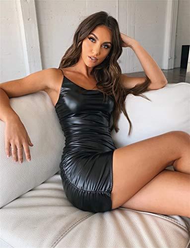 XUBB ZioBSQ Frauen PU Leder Stretch Bodycon Minikleid Solid Drapiert Slim Club Ärmelloses Kurzkleid Mode Backless Kleider L 1