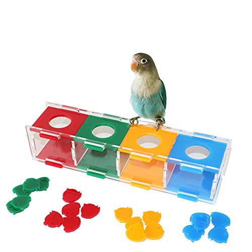Bird Trick Tabletop Interactive Toys,Parrot Acrylic Intelligence Training Toys,Conure Chew Coin Foraging Toys,Pet Education Play Gym Playground Activity Cage Foot Toy for Macaws African Grey Cockati