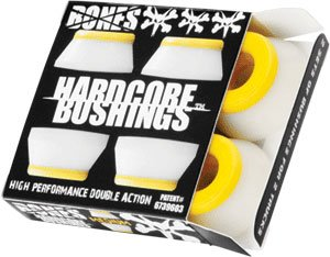 Bones Wheels Hardcore 4Pc Med White/Yellow Bushings