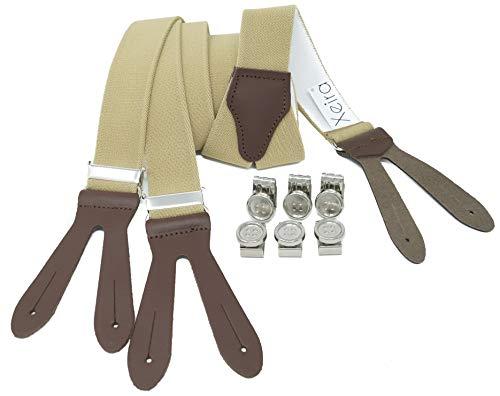 Xeira Herren Hosenträger mit Lederriemen und Knopfklips Beige Braun Standard 110cm