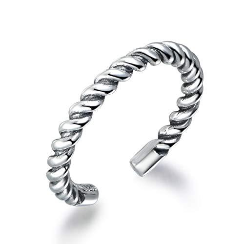 Snorso corda intrecciata Stackling MIDI anello per donne 925Serling argento regolabile pollice Knuckle anello Eternity a fascia