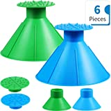 2 Sets Round Ice Scraper, Car Window Windshield Cone Shaped Shovel Tool 2 Size Funnel Scraper with Ice Breakers for Car Supplies, Blue and Green