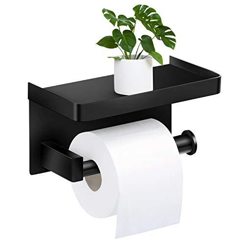 Toilettenpapierhalter Ohne Bohren mit Ablage, Braoses Klopapierhalter SUS304 Edelstahl selbstklebend WC rollenhalter Wandmontage für Küche und Badzimmer Schwarz