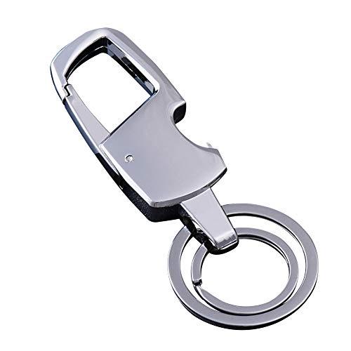 MuLier sleutelhanger met 2 sleutelringen en flesopener, zilver nikkel kleur. De perfecte combinatie van luxe, kracht en elegantie, zal nooit roest, buigen of breken!