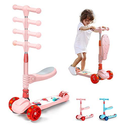 Arkmiido Monopattino per Bambini 3 in 1 con Sedile Pieghevole e Rimovibile, Altezza Regolabile, 3 Ruote Luminose a LED, Scooter Bambini per Ragazze e Ragazzi da 3 a 12 Anni (Rosa)