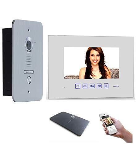 4 Draht Türsprechanlage Gegensprechanlage Video Bildspeicher mit 7'' LCD Monitor WLAN Schnittstelle (Weiß)