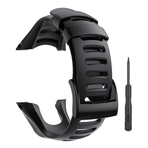 YHC Cinturino per SUUNTO Ambit 1 2 2R 2S 3 Sport Run Peak,Smart Watch Accessori per Cinturino di Ricambio Strap Silicone Regolabile (01-Nero)