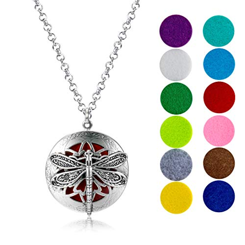 mEssentials Dragonfly Essential Oil Diffuser Necklace Gift Set - Includes Aromatherapy Pendant, 24' Stainless Steel Chain, 12 Color Refill Pads